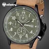 INFANTRY Mens นาฬิกาแบรนด์หรูทหารนาฬิกาผู้ชาย Daytona สีเขียวยุทธวิธี Chronograph นาฬิกาหนัง Relogio Masculino
