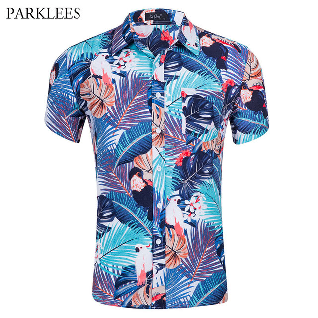 62dbc527029 Mens Hipster Short Sleeve Hawaiian Shirt 2018 Casual Brand Cotton Slim Fit Summer  Beach Shirts Men