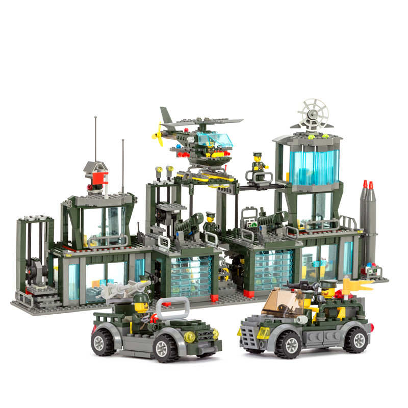 Kazi Model building kits compatible with lego city army command headquarters 962 3D blocks Educational toys hobbies for children