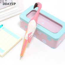 Creative handmade animal fashion flamingo carved wood pen cute