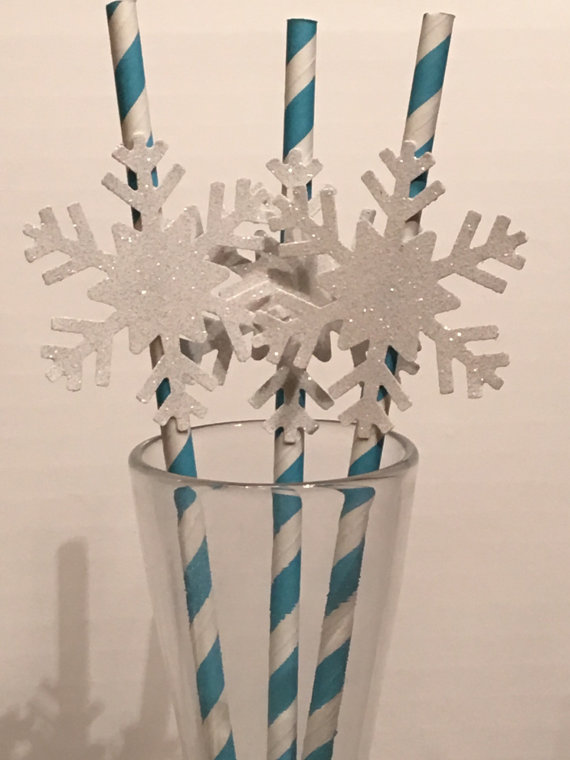 FROZEN Snowflake Paper Straws BIRTHDAY PARTY supplies favors