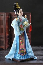 Oriental Broider Doll,Chinese Old style figurine China doll girl statue blue gbtiger blue others old