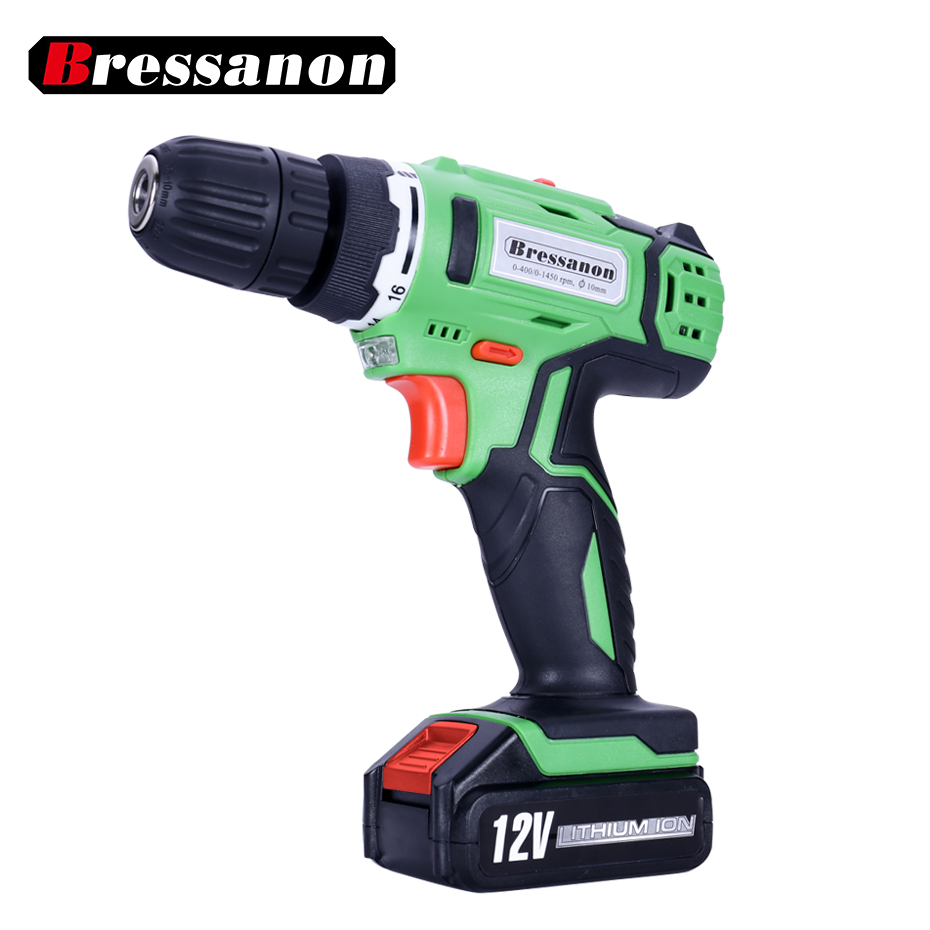 12V  Li-ion Battery Double Speed DC Electric Drill Lithium Cordless Drills/Screwdriver Household power tools eleoption 2pcs 18v 3000mah li ion power tools battery for hitachi drill bcl1815 bcl1830 ebm1830 327730