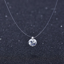 Necklace Pendant Moonso Invisible Chokers Crystal Rhinestones 925-Sterling-Silver Transparent