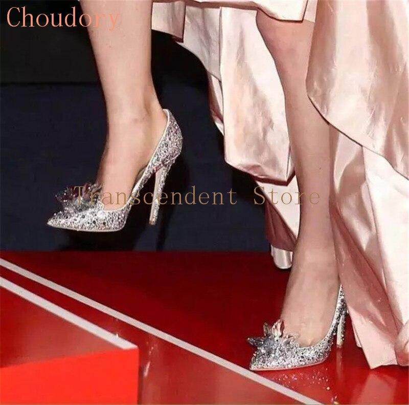 Choudory New Fashion Cinderella Glass Slipper Woman Stiletto High Heels Women Pumps Rhinestone Women Wedding Shoes Crystal Shoes