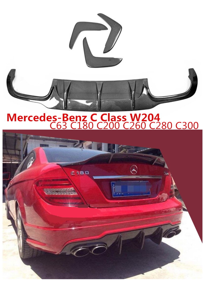 Becquet de lèvre arrière en Fiber de carbone pour mercedes-benz classe C W204 C63 C180 C200 C300 2012-2014 accessoires Auto diffuseur de pare-chocs de voiture