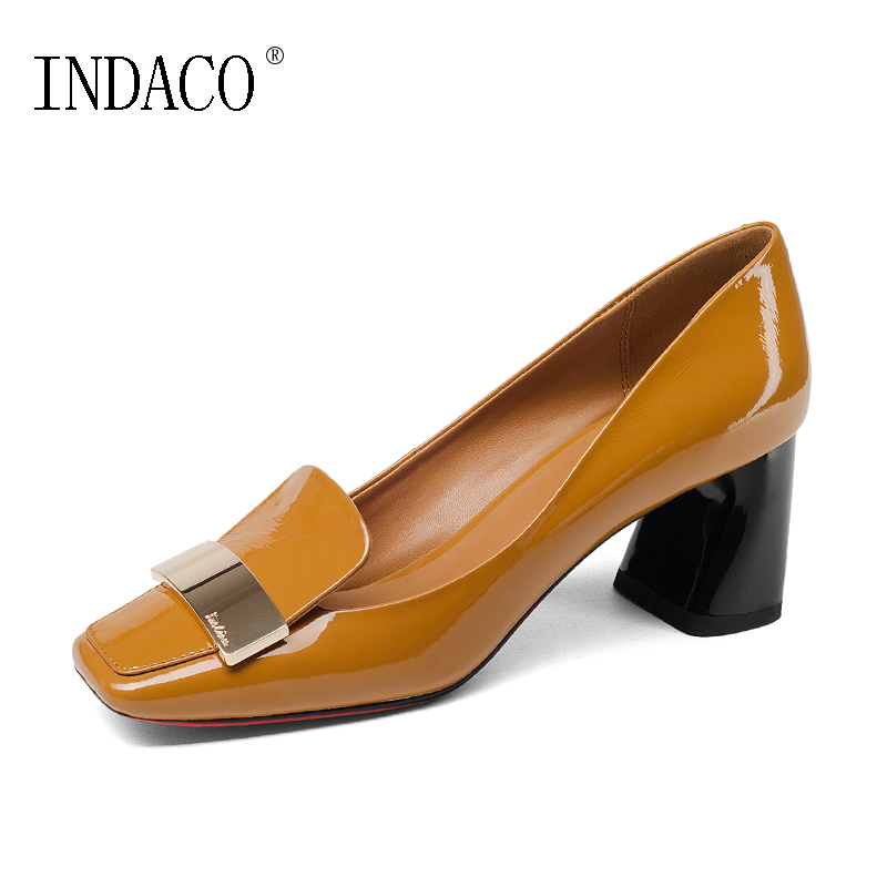 2018 NEW Women Fashion Leather Pumps Black Yellow Square Toe Patent Leather Cowhide Red Bottom High Heels 6.5cm xjrhxjr new red black women patent