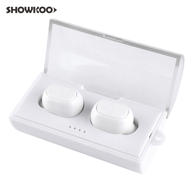 Showkoo Auricular Twins Earbuds Earpieces Bluetooth In-ear Earphone Wireless Headset with Chargebox Escutador Fone De Ouvido headset bluetooth fones de ouvido bluetooth wireless earbuds in ear fone de ouvido bluetooth mini bluetooth headset qcy50