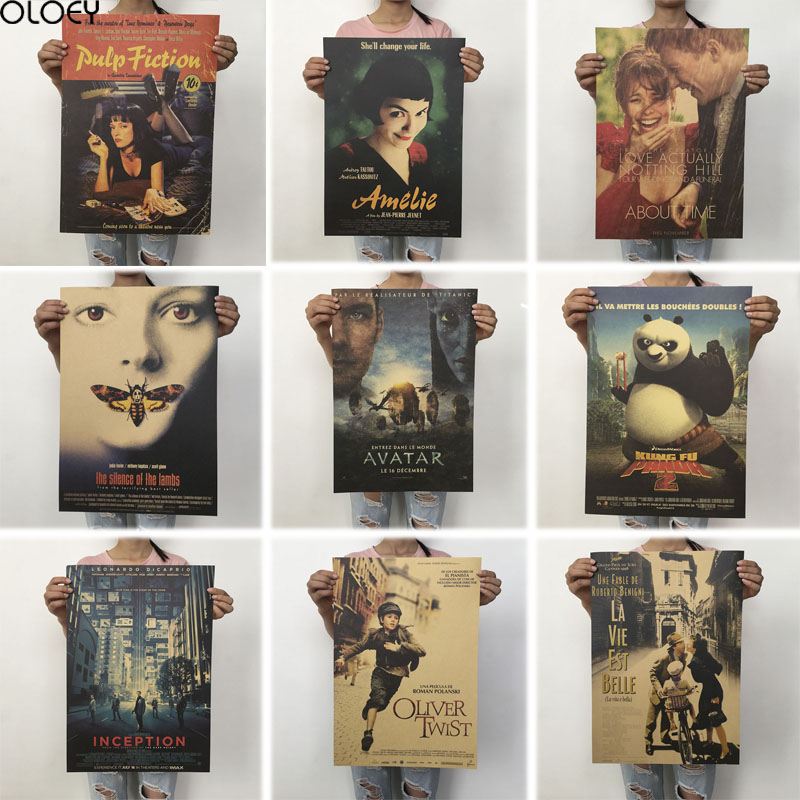 OLOEY 51.5x36cm Vintage Posters Retro Movie Poster Kraft Paper Posters Classic Poster Bar Home Decoration Painting Wall Sticker