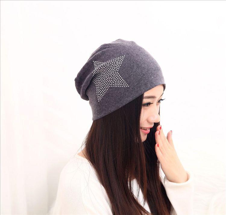 2017 sombreros de las mujeres de la manera rhinestone estrella algodón  gorros para hombres negro turbante sombreros de invierno para las mujeres 3efd220b5715