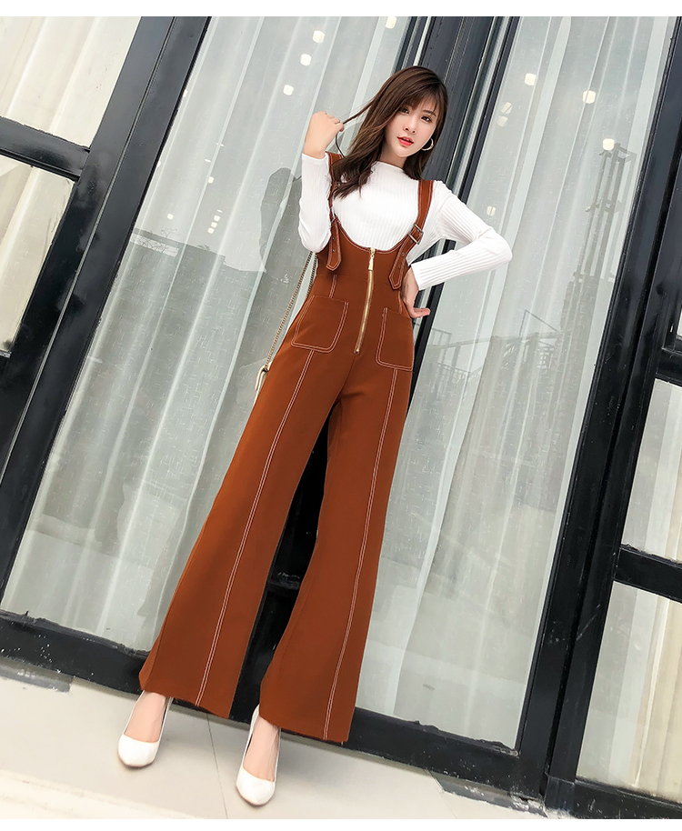 Pengpious winter new flare pants with zipper pockets and knit sweater long sleeves two pieces set fashion women 12