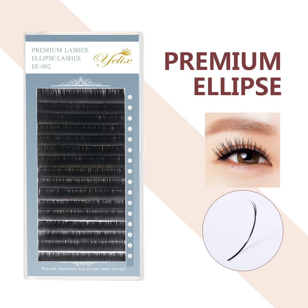 Individual False Flat Lashes Mink Ellipse Eyelashes Eyelash Extension Natural Extensions Highly Soft Split-tip For Professionals