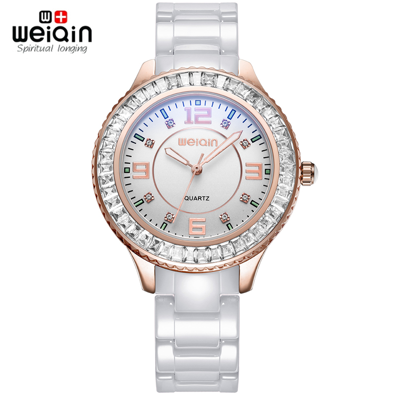 WEIQIN New 100% Ceramic Watches Women Clock Dress Wristwatch Lady Quartz-watch Waterproof Diamond Gold Watches Luxury Brand weiqin new 100