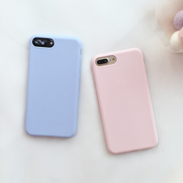 brand new 827bc f7654 Cute Candy Blue Pink Soft Case For iPhone 8 Plus Skin Silicon Cover For  iPhone X Ten 6 6s 7 Plus 6Plus 5.5 Cases-in Fitted Cases from Cellphones &  ...