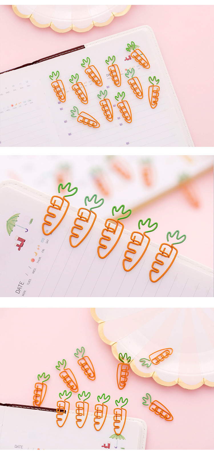 Kawaii Cute Carrot Bookmark Metal Material Paper Clip