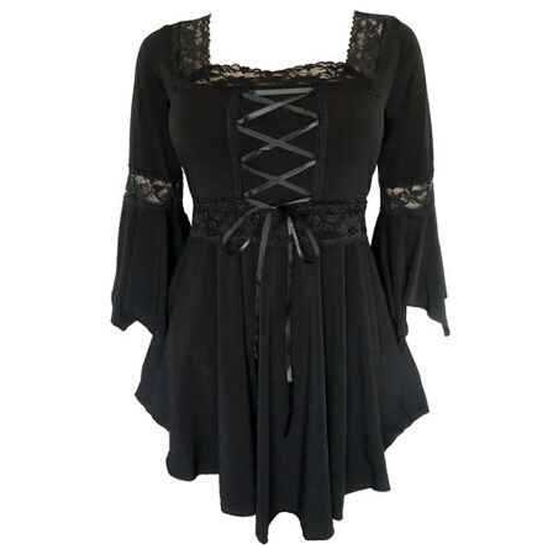 Dark Gothic Lolita Cosplay Cross Bandage Women Swing Lace Up Flared Sleeve Cotton Tops Tunic T-Shirt Tee Plus Size 5XL