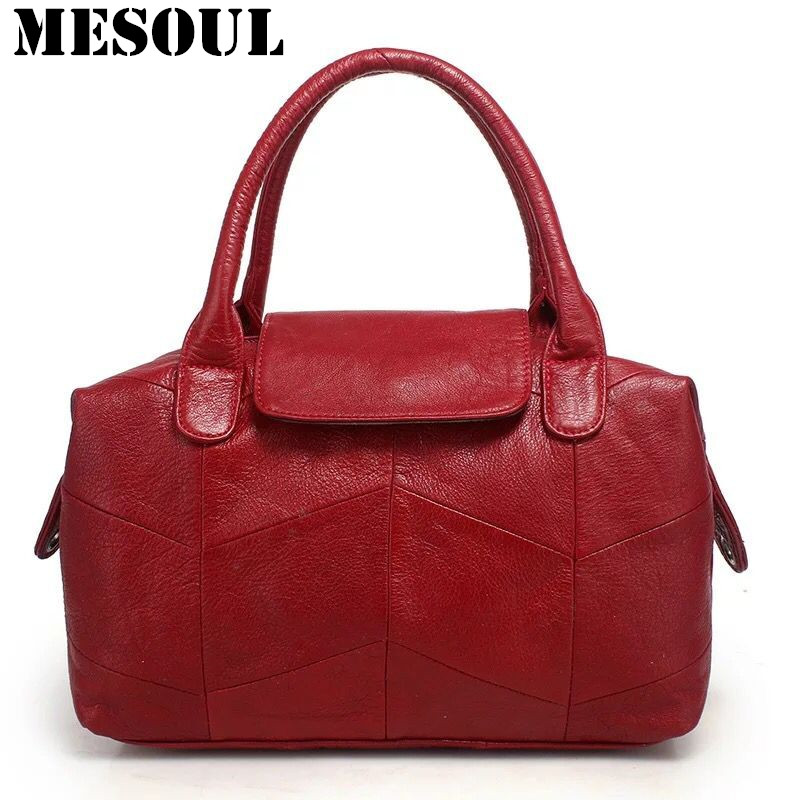 2017 Boston Bag Genuine Leather Handbag Women Shoulder Bags Casual Simple Burgundy Handbags High Quality Totes Ladies Office Bag luxury genuine leather bag fashion brand designer women handbag cowhide leather shoulder composite bag casual totes