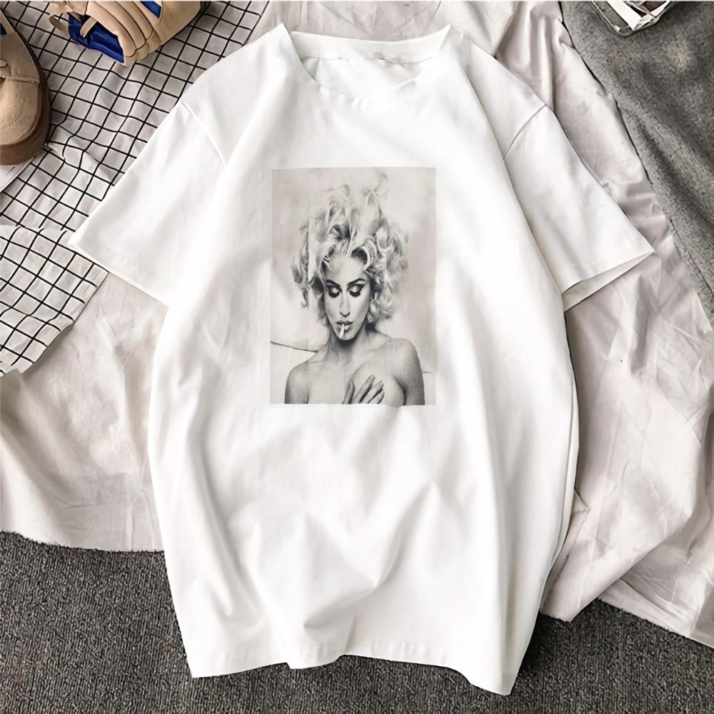 Fashion Short Sleeve T Shirt Madonna Black and White Art Printed 100% Cotton Top Tees  Casual O Neck T-Shirt Unisex TShirt