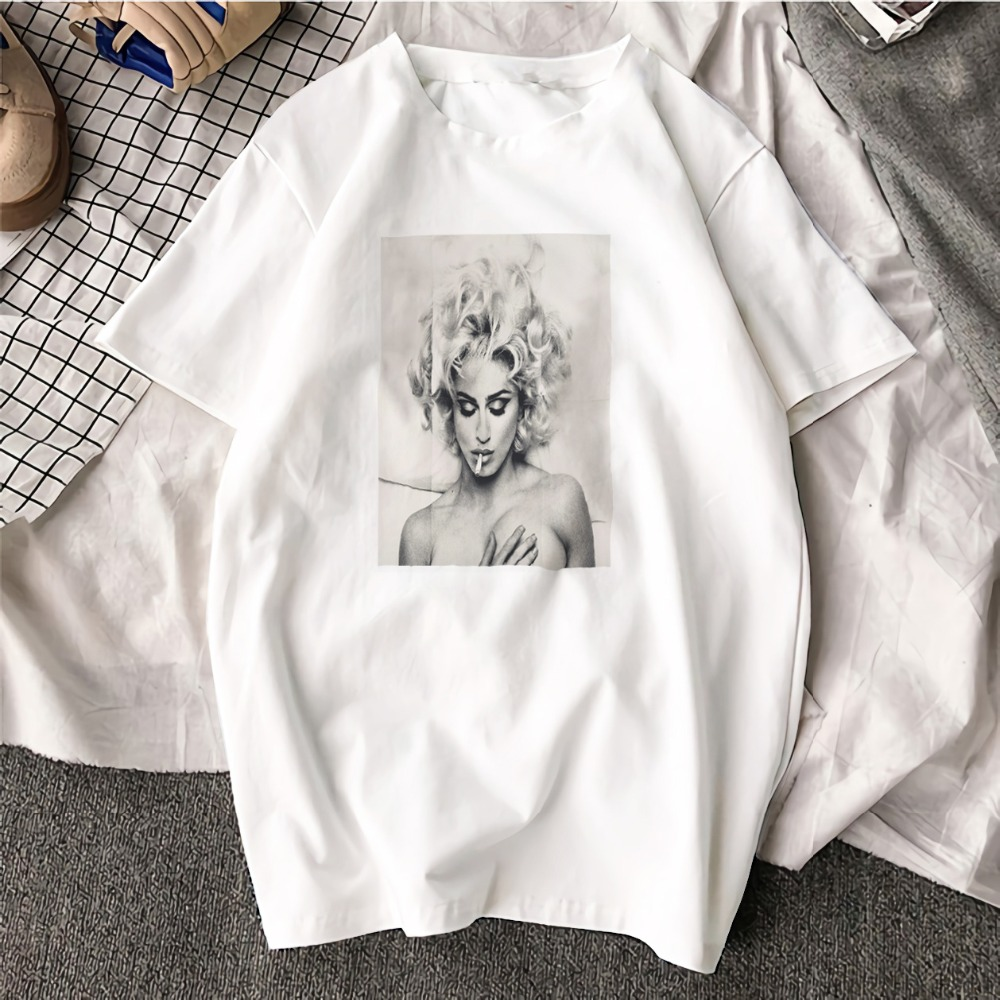 Fashion Short Sleeve   T     Shirt   Madonna Black and White Art Printed 100% Cotton Top Tees Casual O Neck   T  -  Shirt   Unisex TShirt