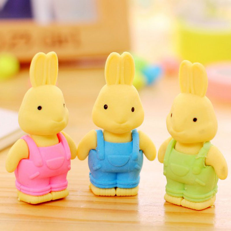 1pcs Cute Little Rabbit Rubber Eraser Kawaii School Office Supplies Papelaria Child Learning Stationery Materiale Scolastico