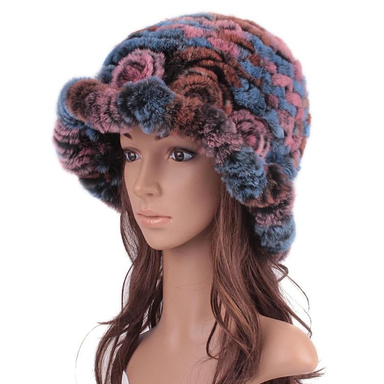 ФОТО Winter Real Rex Rabbit Fur Hat Flower Lovely Fur Earmuffs Winter Hat Thickening Ear Protecting Natural Cap Skullies & Beanies