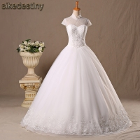 Real Photos A Line Wedding Dresses High Neck Short Sleeves Beaded Vintage Plus Size Bride Ball