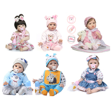 NPK 55cm Reborn Baby Doll Silicone Baby Dolls Simulation Handmade Baby Soft Doll Toys Reborn Baby Toddler Toys For Children 50 55cm soft silicone reborn baby dolls with bear handmade cloth body reborn babies doll toys baby growth partners brinquedos