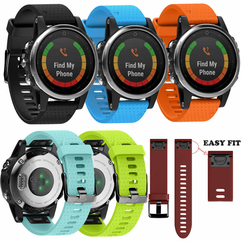 GEMIXI  Watchbands Watch Strap  Silicagel Soft Quick Release Kit Strap Adjustable Replacement For Garmin Fenix 5S GPS Watch