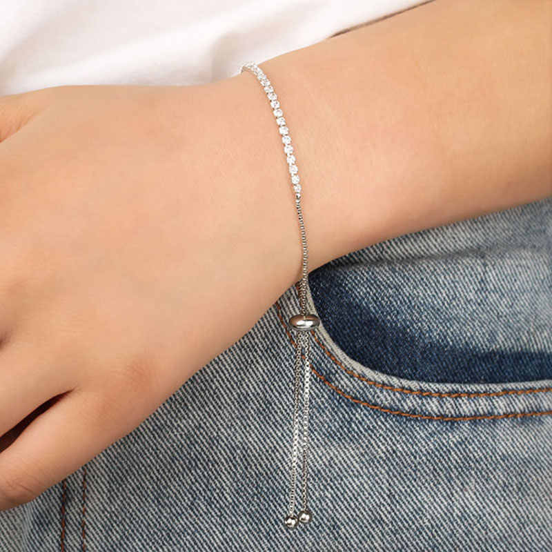 Fashion Elegant Adjustable Tennis Bracelet CZ Crystal Beads Bangles Bracelets Cubic Zirconia Jewelry Womens Accessories Gifts