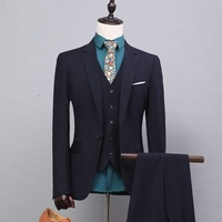 Fashion Men Suit Slim Fit Black Single Breasted Cutton Fabric Gentlemen Wedding Dinner Party Suits