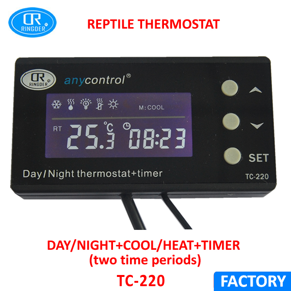 RINGDER TC-220 0-50C Day/night ON OFF Digital Reptile Thermostat with Timer Regulator Animal Amphibian Temperature Controller 0 50c pid controller heating thermostat reptile dimming digital thermostat temperature controller day night thermometer timer