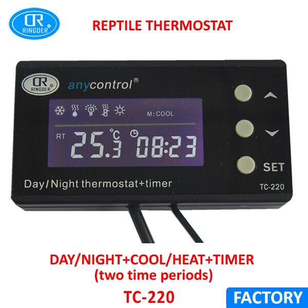RINGDER TC-220 0-50C Jour/nuit SUR LE Numérique Reptile Thermostat avec Minuterie Régulateur Animaux Amphibiens Température Contrôleur