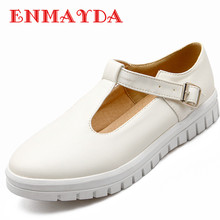 ENMAYDA New Women Buckle Strap Spring and Autumn Casual Flats Shoes Woman 3 Colors White Shoes Platform Round Toe Flats Shoes