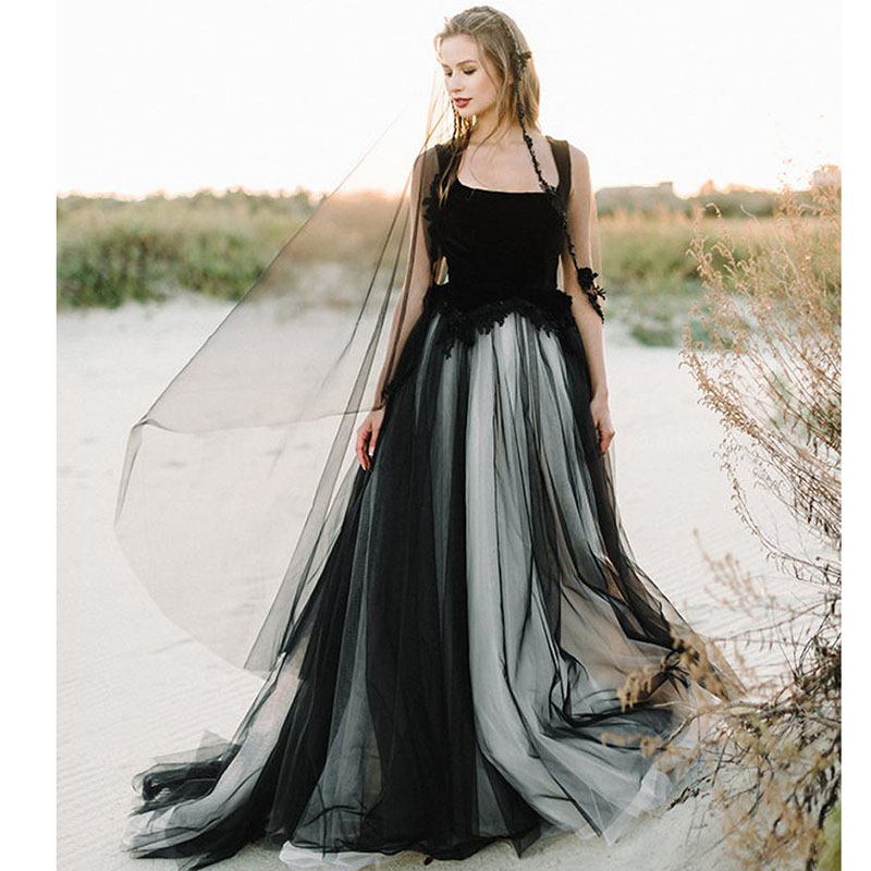 SoDigne Lace Appliques Black Wedding Dresses 2019 Square Collar Appliqued A Line Tulle Bridal Gowns Arabic Sleeveless  Dress