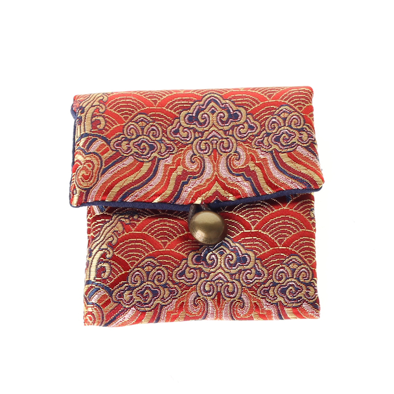 Thicken Vintage Small Travel Jewelry Bag Chinese Silk brocade Pouch Portable Pocket Watch Pouch Cotton filled Storage Bag in Jewelry Packaging Display from Jewelry Accessories