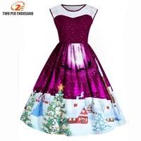 Christmas Lace Insert Sleeveless Party Dress Women 2017 Cute 1950s Autumn Vintage Robes Femme Plus Size