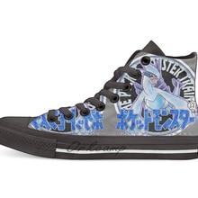 Покемон возвращается серебро Повседневная Высокая холщовая Обувь Кеды легкие ботинки для ходьбы