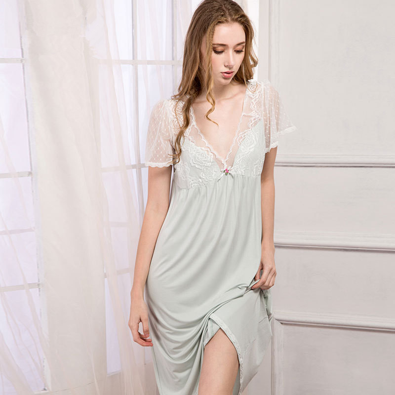 9a1957b016df New Arrival Autumn Womens Purple Pure Cotton Gowns Lady Elegant Princess  Nightgown Ladies Lace Long Sleep ...