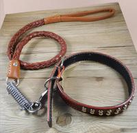 Cowhide Collar Leash Strong Real Leather Big Dog Collar High Quality Sewing Dog Leather Leash Strong