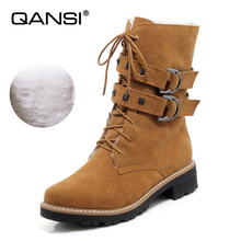 QANSI Women Boots with Fur Med Heels Mid Calf Boots Platform Shoes Brand Women Shoes Autumn Winter Botas Mujer Size 34- 41 42 43