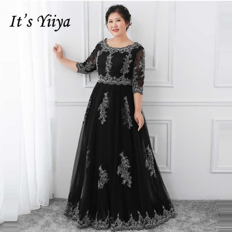 e00086e4a291c It's YiiYa Evening Dress 2018 Black O Neck Lace Floor Length Plus ...