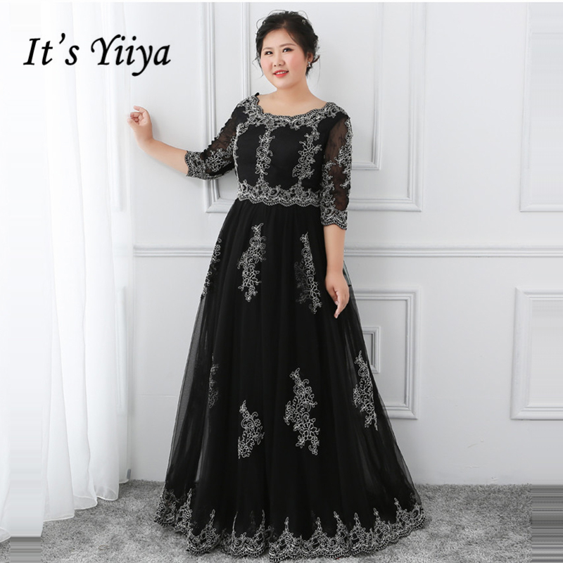 It's YiiYa   Evening     Dress   2018 Black O-Neck Lace Floor Length Plus Size Fashion Designer A-Line Girls Party   Dress   DM053