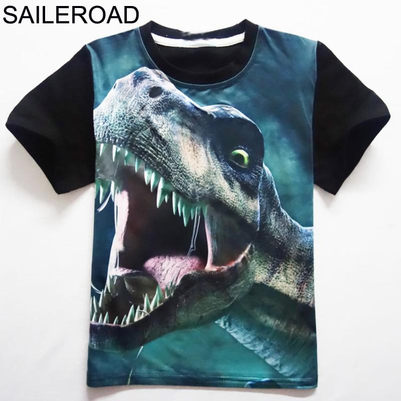 4-11Years Old Children Kids Shorts Tops Tees T Shirt Summer Teenager Boys Girls T-Shirt For Dinosaur Summer Shirts SAILEROAD 1