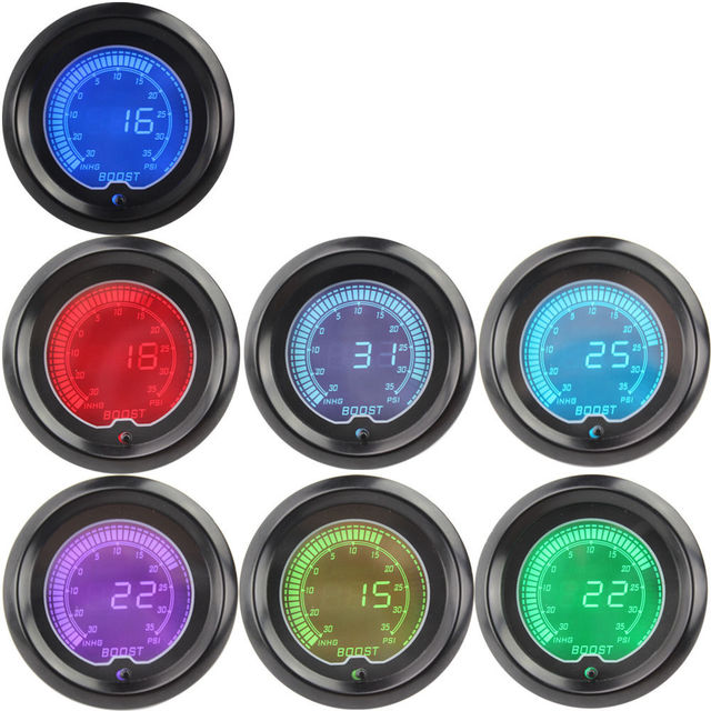 "EE support 2"" 52mm Blue Red 7 Color Water Temp Gauge LED Car Digital Temperature Meter Tint Len XY01"