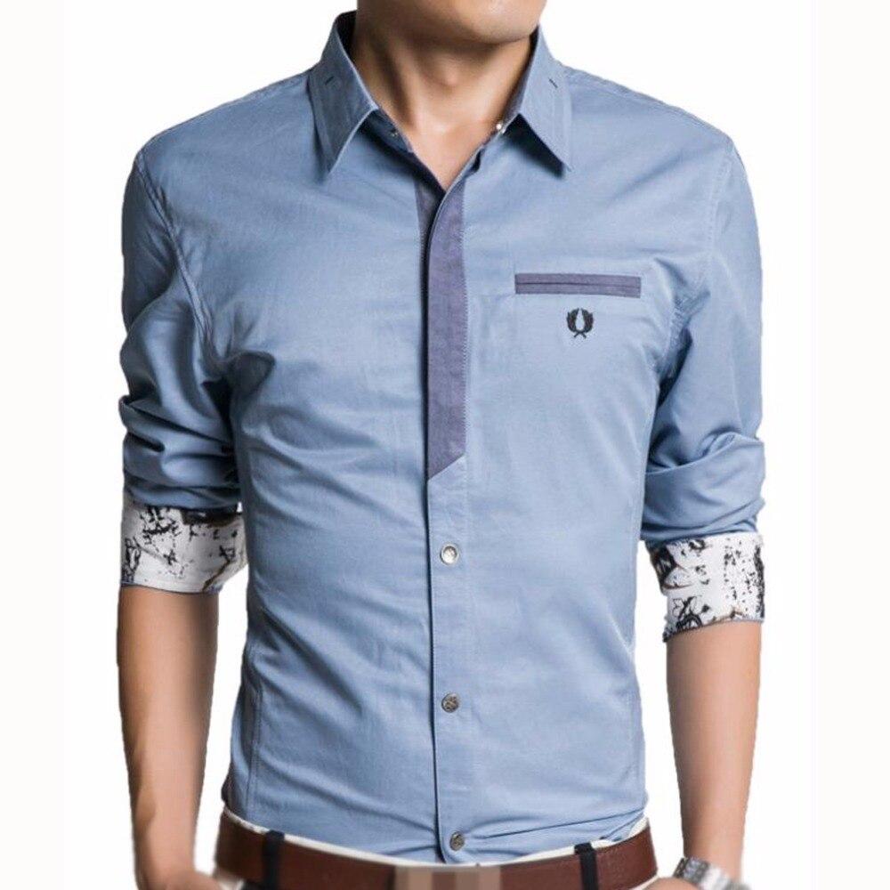 ca480404c69fd8 Hot Sale M-3XL Plus Size Men Shirt Long Sleeve Casual Denim Shirt For Men  Slim Fit Mens Dress Shirts Men Camisas Masculinas