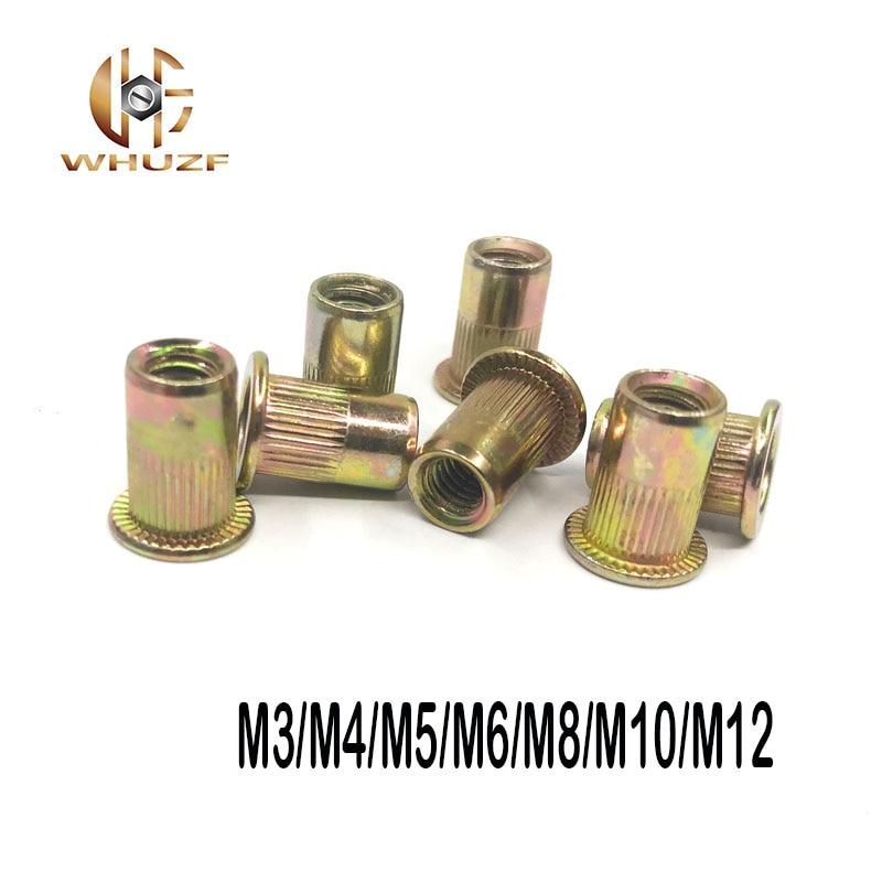 100PCS M3 M4 M5 M6 M8 M10 M12 mix Hollow Rivet Set Zinc Plated Carbon Steel Rivets Threaded Rivet Metal Plate Tube Fastener Tool 50 pieces metric m4 zinc plated steel countersunk washers 4 x 2 x13 8mm