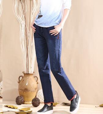Cotton blend denim jeans casual elastic waist plus size straight pants for women spring autumn new fashion full length jln0616 cotton denim jeans casual plus size straight pants for women autumn spring full length high waist loose female trousers jln0609