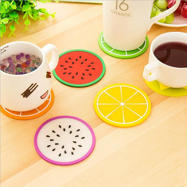 2016 New Colorful Jelly Color Fruit Shape Coasters Creative Skid Insulation Silica Gel <font><b>Cup</b></font> Mat <font><b>6</b></font> pieces/<font><b>pack</b></font> <font><b>6</b></font> Colours <font><b>Mixed</b></font>