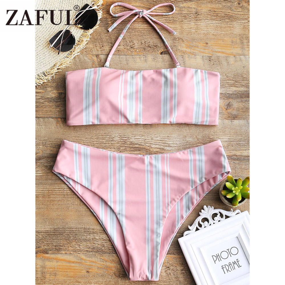 ZAFUL Striped High Cut Bikini Swimwear Sexy Bathing Suit Women Halter Bikini Push Up Swiming Suit Summer Beachwear Bikini 2018