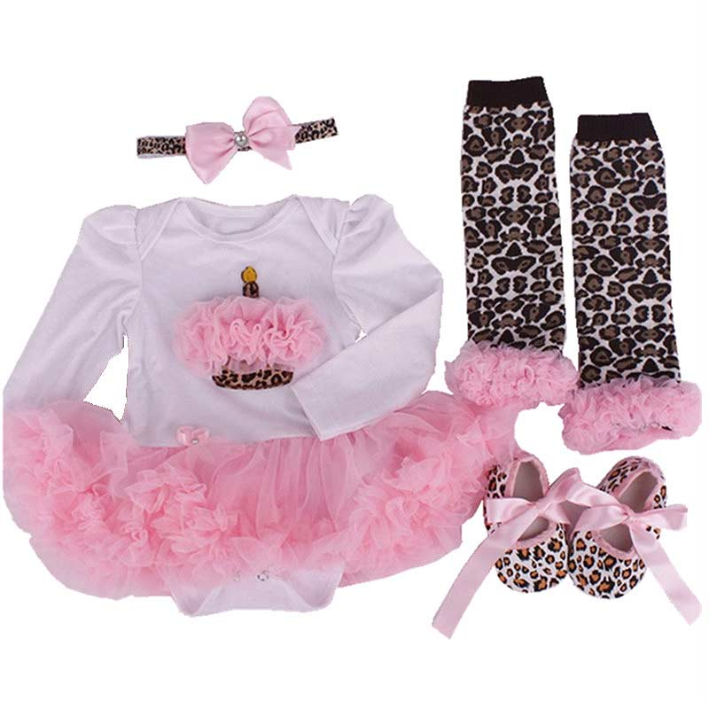 Hot S 4pcs/set Cute Christmas Baby Girls Newborn Romper Tutu Dress+Headband+Shoes+Leggings Set Party Birthday Gifts -17